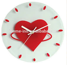 New Modern Design Glass Wall Clock Decorative Clocks Heart Shaped For Wedding Decorations