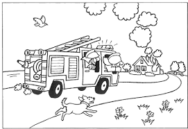 Cartoon Fire Truck Coloring Pages With Rocks | Free Coloring Pages