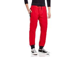 true religion terry exposed zip sweatpants in red for men lyst