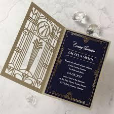 Golden Lasercut Gate Art Deco Great Gatsby Evening Gatefold
