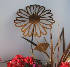 Large Rusty Metal Daisy Single Flower Stake By On Etsy