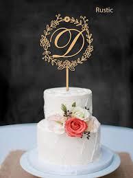 Rustic Wedding Cake Topper Monogram Letter D