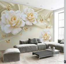 Custom Any Size 3d Wall Painting Rose Flower Butterfly Silk Non Woven Fabric Large Mural Wallpaper Living Room Sofa Tv Backdrop High