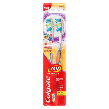 Colgate Total 360° Soft Toothbrush - Value Pack, 2ct