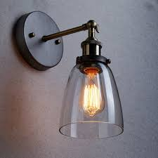 loft vintage industrial edison wall ls clear glass wall sconce