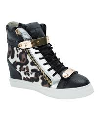 leopard high top metal strap sneakers annakastleshoes com