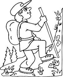The Hiking Coloring Page Activity Of A Guy Up Steep Incline Is An Awesome Free For Kids Who Delight In