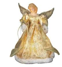 Gold Dress Angel Lighted Christmas Tree Topper Decoration 12 Inch UL1979 New