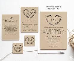 Rustic Wedding Invitation Template Printable Invitations DIY Kraft Editable Text Heart Wreath VW08