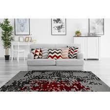 moderner teppich wohnzimmer teppiche grau rot 80x150cm