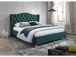 details zu polsterbett doppelbett grün stoff samt 160x200 schlafzimmer bett luxuriös
