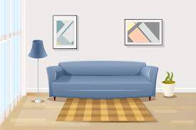 bequemes sofa im wohnzimmer karikatur vektor premium vektor