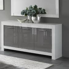 lorenz sideboard in white and grey high gloss with 3 doors