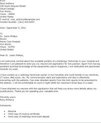 X Ray Tech Cover Letter Technologist Sample Enchanting But Cool