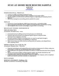 Stay At Home Mom Resume W A Work Experience Gap