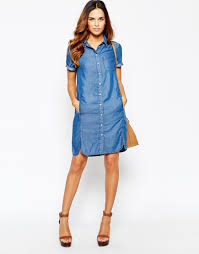 mix the styles with denim shirt dress