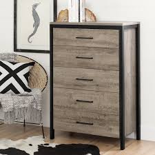 Black Dresser 5 Drawer by South Shore Furniture Munich Weathered Oak Laminated Particleboard