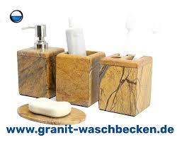 4 teilige bad accessoire set aus naturstein besteht aus