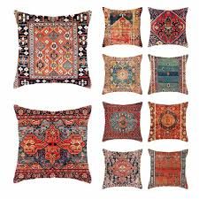 retro ethnische persische gedruckt leinen kissenbezug
