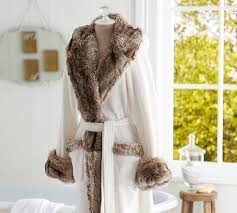Faux Fur Robe Ivory Caramel Ombre