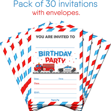 100 Fire Truck Birthday Party Invitations 30 With Envelopes Kids