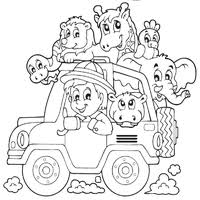 Splendid Travel Coloring Pages Animals Traveling By Car