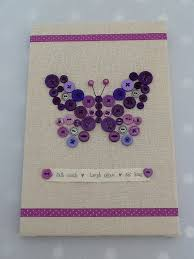 Cute Button Wall Art Canvas Purple Butterfly Fill In Outline W Embellishments Or Dot Stamps