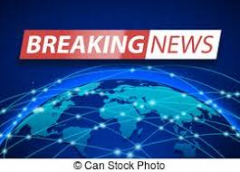 Breaking News Live On Blue World Map Background Business Technology Concept Banner Design TV