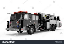 Black Firetruck Perspective Front View Isolated Stock Illustration ...