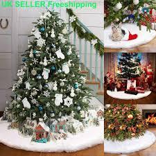 90cm White Christmas Tree Skirt Skirts Decorations Plush Xmas Base