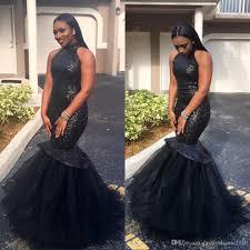 sparkly sequined little black long prom dresses mermaid halter