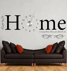 wanduhr wandtattoo wohnzimmer zuhause ist home wandtatoo uhr