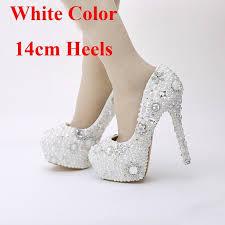 Cheap 2016 Snow White Pearl Wedding Shoes Rhinestone Crystal Dress