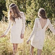 2015 short boho wedding dresses lace jewel long illusion sleeves