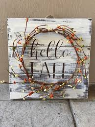 Rustic Fall Wood Pallet Sign W Berry Garland Decor