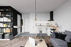 Scandinavian Apartment Black Feature Wall And Bookcase Best First Home Interior Ideas With A Twist