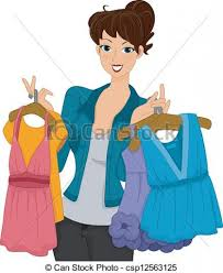 Vector Illustration Of Shopper Girl A Female Intended For Putting On Clothes Clipart