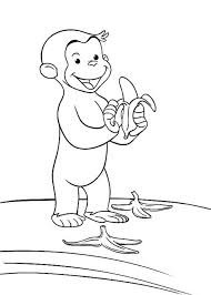 Curious George Littering The Way With Banana Peel Coloring Page