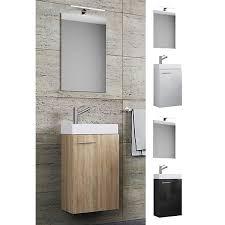 waschplatz waschbecken schrank spiegel wc gäste toilette badmöbel klein schmal slito spiegel schwarz vcm
