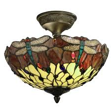 Home Depot Tiffany Style Lamps by Springdale Lighting Dragonfly 2 Light Antique Bronze Ceiling Semi