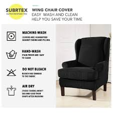 Subrtex 2-Piece Stretchable Wing Back Chair Slipcover Lisle White Slipcover Wingback Host Chair Black Blue Ding Covers Round Back Room Chun Yi 2piece Stretch Jacquard Spandex Fabric Wing Armchair Slipcovers Tcushion For Walmart Fireside Floral Winsome Big Man Recliner Brown Power Boy Gray Wingbacks With Damask By Shelley Cube Target Pottery Bar Slipcovered Pattern Sewi Capri Captain Cdi Fniture