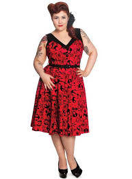 Juniors And Teenagers Plus Size Red Black Vintage Retro Dresses For Style Party