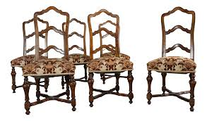 French Louis XIV Style Walnut Ladderback Dining Chairs - Set Of 6 ... Guy Chaddock Melrose Custom Handmade Fniture Cf0485s Country French Ding Chairs With Ladder Back And Rush Seats Antique Farm Carved Tall Seat Room Set Of 6 Provincial In Walnut 10 Louis Xv Style Oak Leather Nailhead Recliner Chair Vintage White Of Four Six Xiv Ladderback Scalloped Stretchers Inspire Q Eleanor Wood 2 By Dec 16 2018