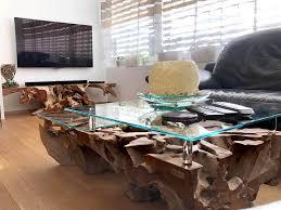 couchtisch wurzelholz design teak mit glasplatte rechteckig