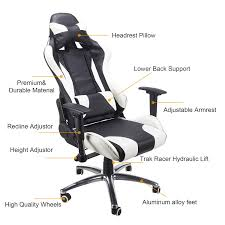 Video Rocker Gaming Chair Amazon by Amazon Com Pinty White And Black Adjustable Recliner High