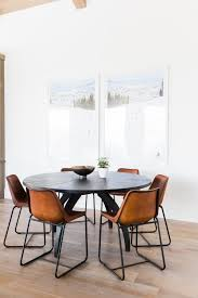 Round With Leather Chairs Love The Black For Mountain Modern Aesthetic