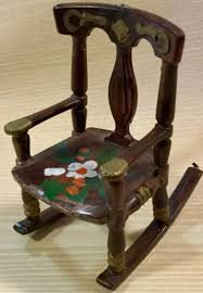 Dollhouse Chair Rocking Chair Toy Miniature Furniture Plastic Brown Hand  Painted