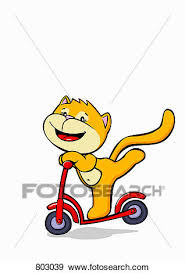 Clip Art Of A Cat Riding Push Scooter 803039