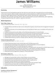 Accounts Payable Receivable Resume Example