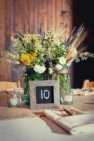 Wheat And Wildflower Centerpiece In Mason Jar